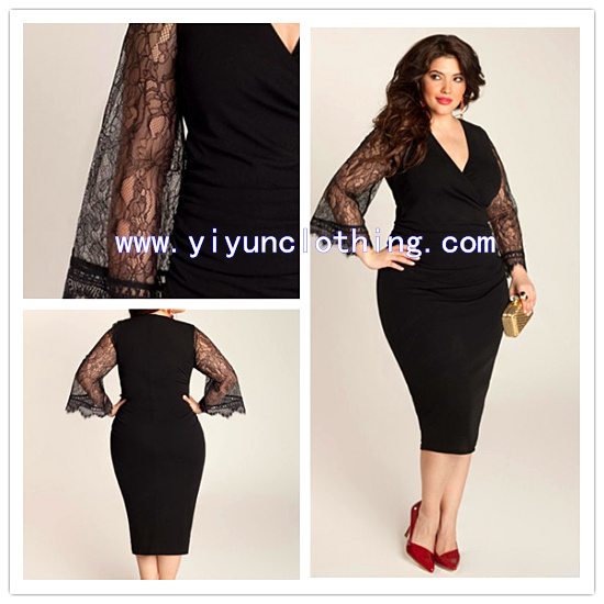 2014 lace long sleeve plus size casual dresses