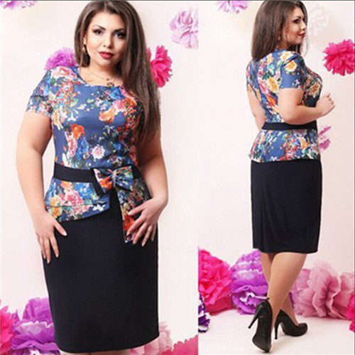 Round neck short sleeve printing plus size dress