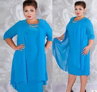 new dress pure color round collar dress plus size