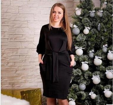 pure color round neck plus size dress fat woman