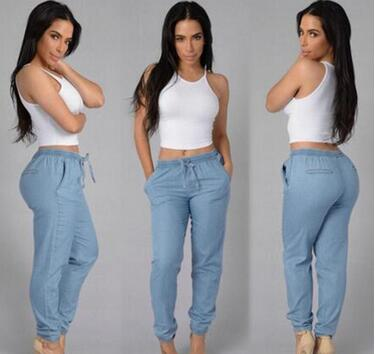 new leisure loose waist jeans small feet sky blue