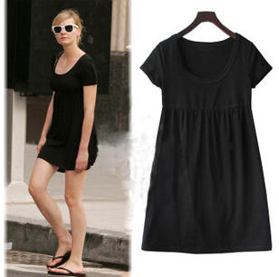 $12.5 Casual short-sleeved knit dress fat woman